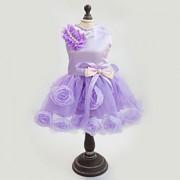 Gatos / Cães Vestidos Rosa / Púrpura Roupas para Cães Verão / Primavera/Outono Cor Única / Floral / Botânico / Laço Casamento / Da Moda