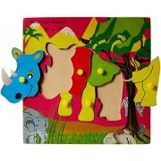 Skillofun Wooden Theme Puzzle Standard Rhinoceros Knobs, Multi Color