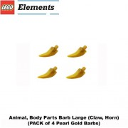 Lego Parts: Animal Body Parts Barb Large (PACK of 4 - Pearl Gold Claw Horns)