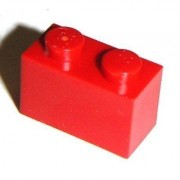 Lego Building Accessories 1 x 2 Red Brick Bulk - 50 Pieces per Package
