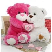 Dark Pink and White 2 Feet Holding Heart Couple Teddy Bears