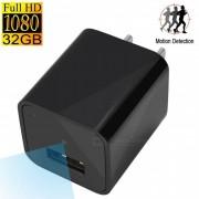 1080P HD USB pared cargador camara w / 32 GB de memoria interna - Negro