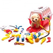 Deluxe Pet Care Play Set - Vet kit and grooming kit - 19pcs