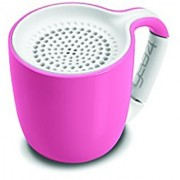 GEAR4 Espresso Small Coffee Cup Style Bluetooth Speaker with Carabineer Handle Clip (Pastel Pink)