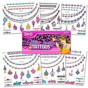 Savvi Glitter Tattoo Jewelry Kit for Girls -- Over 100 Glitter Temporary Tattoos (Includes Bracelets Necklaces Charms and Rings)