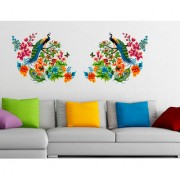 Walltola Multicolor Vinyl Peacock Birds On Colourful Branch Leaves Wall Design Nature Wall Decal