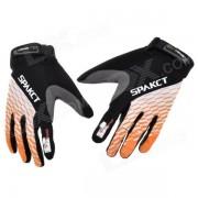 Spakct Outdoor Cycling Full-Finger Gloves - Orange + White + Black (Size L / Pair)