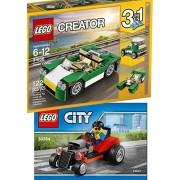 Lego 30354 Hot Rod Race Car with Driver Mini figure 2017 polybag + Creator Green Cruiser 31056 Building Kit Block Toy Set
