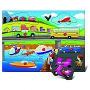 Puzzled People Movers Transportation Wooden Peg Puzzle (9 Piece)