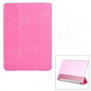 Protector de seda de seda de grano PU de cuero Smart Case w / PC de nuevo? soporte para IPAD AIR 2 - Deep Pink