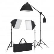 vidaXL Комплект за студийно осветление с три софтбокса