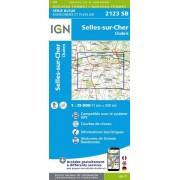 Wandelkaart 2123SB Selles-sur-Cher, Chabris topografische kaart   IGN Institut Geographique National