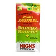 High5 Energy Source Plus Żywność energetyczna cytrynowe 47 g z kofeiną elektrolity i magnez zielony/czerwony Suplementy fitness