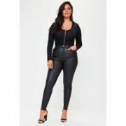 Missguided Plus Size Black Coated Skinny Jeans, Black