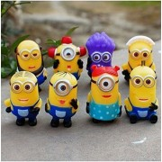 Despicable Me 2 Minions Purple Evil Minion 8pcs/set PVC Action Figure Doll Kids Gift