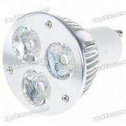 GU10 3W 270 Lumen 6500K 3-LED blanche ampoule de lampe (85 ~ 265V)