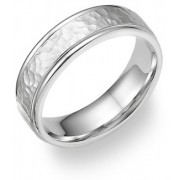 14K White Gold Hammered Wedding Band Ring