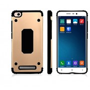 SDO™ [Hybrid Shield] Shock Absorbing Heavy Duty Dual Layer TPU + Metal Armor Shockproof Case Back Cover for Xiaomi REDMI 4A (Gold)