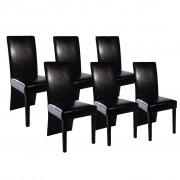 vidaXL 6 jedálenské stoličky čierna koža