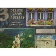 3 Deluxe Jigsaw Puzzles 2 250 pcs Window Boxes (750pcs) Neuschwanstein Castle Germany (1000pcs) Trevi Fountain Italy (500pcs)