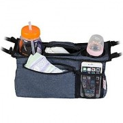 Universal Stroller Organizer Bag By KidLuf - 2 Cup Holders & Accessories Storage Bag for Strollers - With Mesh Pocket fo