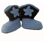 Cowboy Baby Bootie Boots Handmade Crochet Baby Boots Toddler Shoes Blue with Apricot 12cm