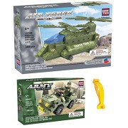 Brictek Army Jeep Corps & Army Double Rotor Helicopter Building Blocks Sets With Brick Remover (Compatible With Legos)