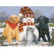 Bits and Pieces - 300 Piece Glitter Puzzle - Snowboy with Little Friends by Artist William Vanderdasson - Puppies and Ki