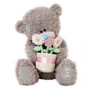 Me To You - Tatty Teddy Bear Plush con jarrón de flores en la mano, 28 cm, de color: Gris