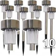 Luminária Solar Jardim 10 peças em Aço Inox EC11044 - 1386