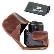 MegaGear Ever Ready Protective Leather Camera Case Bag for Canon Powershot SX540 HS SX530 HS (Dark Brown)