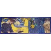Poster Reproduction Encadré: Gustav Klimt - La Musique, 1895 (30x91 Cm), Cadre Plastique, Bleu