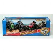 Monster Jam Tour Favorites - 1 Set of 4 Collectible Trucks: Grave Digger Bounty Hunter Nitro Circus Airborne Ranger
