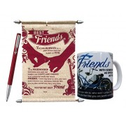 Saugat Traders Gift for Friend - Friend's Scroll Card, Quote Coffee Mug & Parker Pen