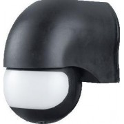 Mozgásérzékelő, infra falra, fekete - 230 VAC, 180°, 300 W, max. 12 m, 10 s-7 min, 3-2000lux, IP44 TMB-112F - Tracon