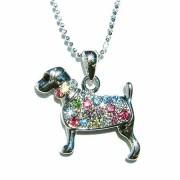 Rainbow Swarovski Crystal Rottweiler Dog Pendant Chain Necklace