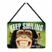 hang-ups! - tinnen bordje - keep smiling it makes people wonder what you are up to - chimpansee