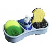 Dispenser sapun lichid cu suport burete-Bleu