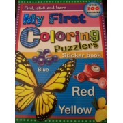 My First Coloring Puzzlers Sticker Book ~ Blue Marbles, Red Phone, Yellow Butterfly (Over 100 Stickers)
