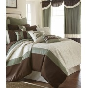 24 Piece Embroidered Queen Size Comforter Set Brown and White