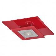 Plafon Palladium Vermelho Quadrado 1 Lâmpada
