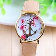 Mulheres Relógio de Moda Quartz PU Banda Flor Branco / Bege marca-