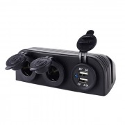 DIY impermeable Dual USB Car Charger + Cigarette Lighter Dual - Negro