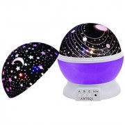 Night Light Kids Lamp Romantic Rotating Sky Moon & Cosmos Cover Projector Night Lighting for Children Adults Bedroom /Decorative Light Baby Nursery Light Living Room Gift (Purple)