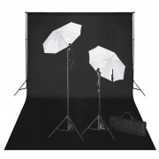 vidaXL Студиен комплект: черен фон 600 х 300 см. и светлини