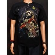 Koszulka fluoryzująca marki Rock Eagle - CZASZKA Z GITARĄ