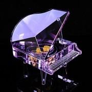 WHH Color cristal vidrio piano música creativo romántico cumpleaños regalos Navidad música caja , large purple