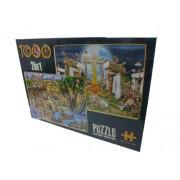 D-Toys Cartoon 2-in-1 Desert Oasis / Stone Henge puzzle (1000 Pezzi)