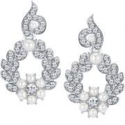 Sikka Jewels Shimmering Rhodium Plated Australian Diamond Earring