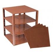 "Premium Brown Stackable Base Plates 4 Pack 10"" X 10"" Baseplate Bundle With 60 Brown Bonus Building Bricks (Lego Compatible) Tower Construction"